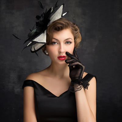 Feather/Tulle/Linen With Feather Fascinators Elegant Ladies' Hats (196194242)