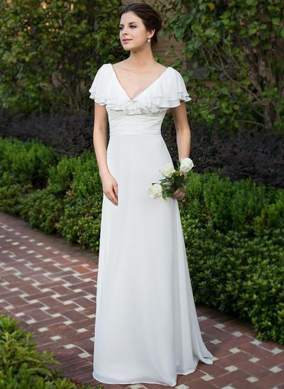 Fashion Floor-Length A-Line/Princess Wedding Dresses Sweetheart Chiffon Short Sleeves (002211503)