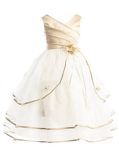 2019 New Ankle-length Ball Gown Flower Girl Dresses V-neck Taffeta/Tulle Sleeveless (010211843)