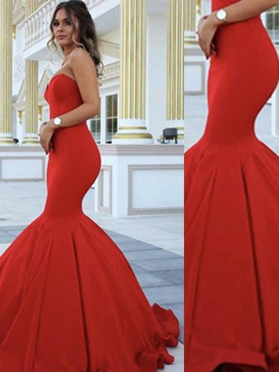 Satin Sleeveless Trumpet/Mermaid Prom Dresses Sweetheart Floor-Length (018145853)