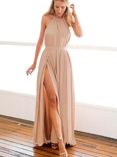 Chiffon Sleeveless A-Line/Princess Prom Dresses Halter Split Front Floor-Length (018145895)
