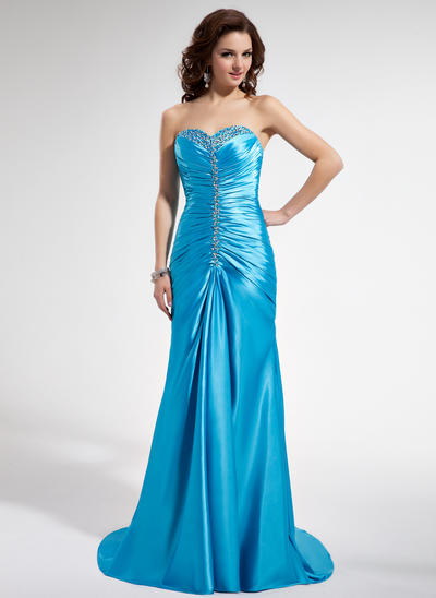Charmeuse Sleeveless Trumpet/Mermaid Prom Dresses Sweetheart Ruffle Beading Sequins Sweep Train (018004829)