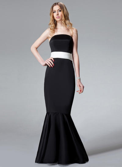 Satin Sleeveless Trumpet/Mermaid Bridesmaid Dresses Strapless Sash Bow(s) Sweep Train (007001773)