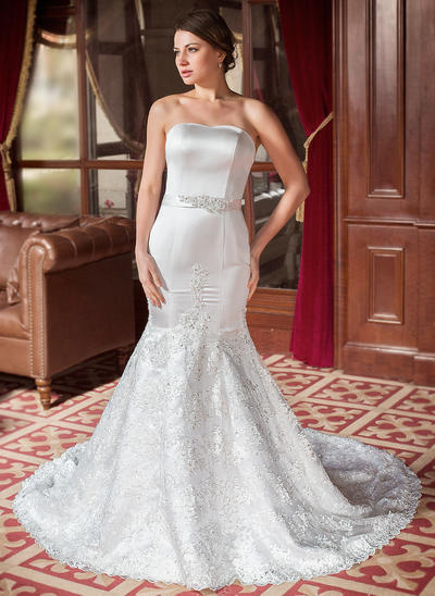 Magnificent Chapel Train Trumpet/Mermaid Wedding Dresses Sweetheart Satin Lace Sleeveless (002000063)