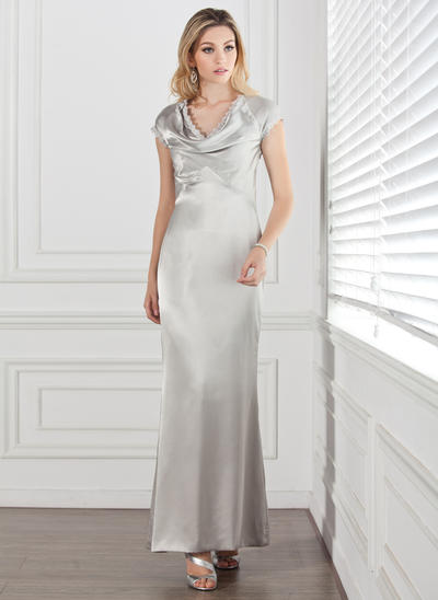 Sheath/Column Cowl Neck Charmeuse Short Sleeves Ankle-Length Lace Mother of the Bride Dresses (008211185)