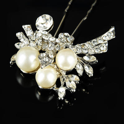 """Hairpins Wedding/Special Occasion/Casual/Outdoor/Party Rhinestone/Alloy/Imitation Pearls 3.54""""(Approx.9cm) 1.77""""(Approx.4.5cm) Headpieces (042157235)"""