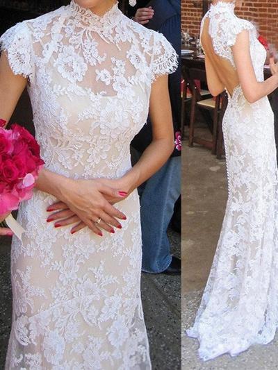 Fashion Sweep Train Trumpet/Mermaid Wedding Dresses High Neck Lace Sleeveless (002144593)