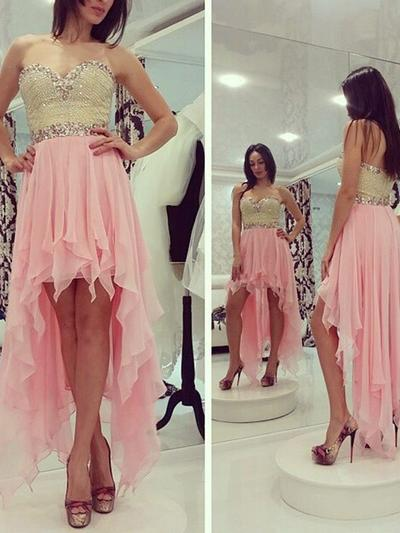 A-Line/Princess Sweetheart Chiffon Sleeveless Asymmetrical Beading Sequins Cocktail Dresses (016145321)