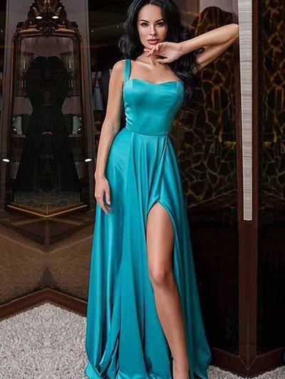 Silk Like Satin Sleeveless A-Line/Princess Prom Dresses Sweetheart Ruffle Split Front Sweep Train (018218584)