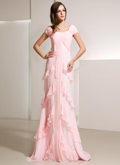 A-Line/Princess Scoop Neck Chiffon Sleeveless Sweep Train Cascading Ruffles Evening Dresses (017014216)