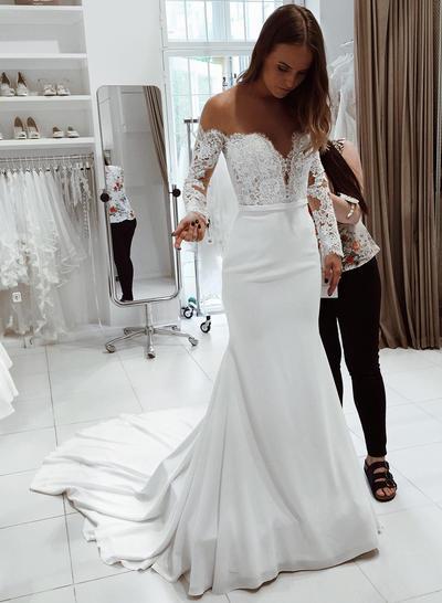 Glamorous Court Train Trumpet/Mermaid Wedding Dresses Off-The-Shoulder Chiffon Long Sleeves (002218058)