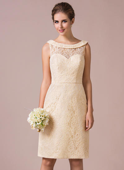 Lace Sleeveless Sheath/Column Bridesmaid Dresses Scoop Neck Knee-Length (007198816)