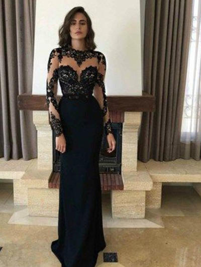 Sheath/Column Scoop Neck Satin Long Sleeves Sweep Train Appliques Lace Evening Dresses (017213615)