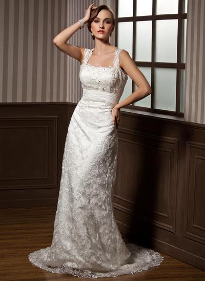 Flattering Watteau Train Sheath/Column Wedding Dresses Sweetheart Lace Sleeveless (002196881)