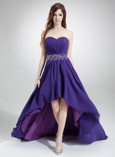 Chiffon Sleeveless A-Line/Princess Prom Dresses Sweetheart Ruffle Beading Asymmetrical (018022777)
