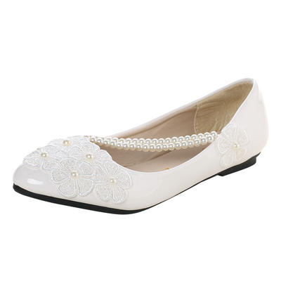 Women's Closed Toe Flats Flat Heel Lace Leatherette With Imitation Pearl Applique Wedding Shoes (047209364)