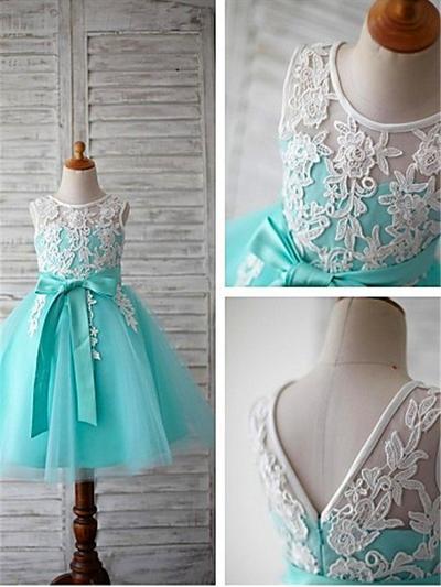Delicate Tea-length Ball Gown Flower Girl Dresses Scoop Neck Tulle Sleeveless (010211740)