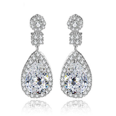 Earrings Copper/Zircon/Platinum Plated Pierced Ladies' Shining Wedding & Party Jewelry (011166668)