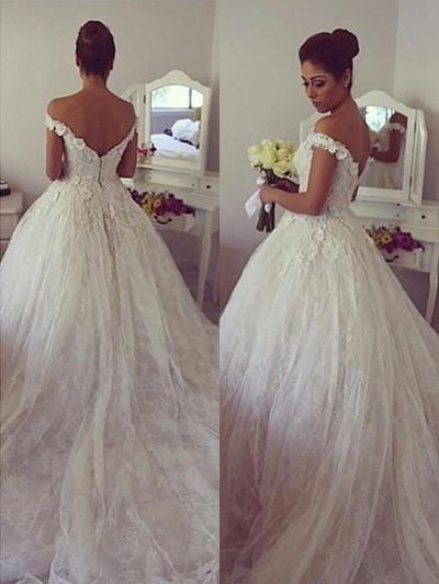 Princess Court Train Ball-Gown Wedding Dresses Off-The-Shoulder Tulle Sleeveless (002210841)