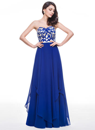 Chiffon Sleeveless A-Line/Princess Prom Dresses Sweetheart Lace Cascading Ruffles Floor-Length (018059414)
