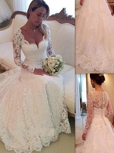 Delicate Chapel Train Ball-Gown Wedding Dresses V-neck Lace Long Sleeves (002144832)