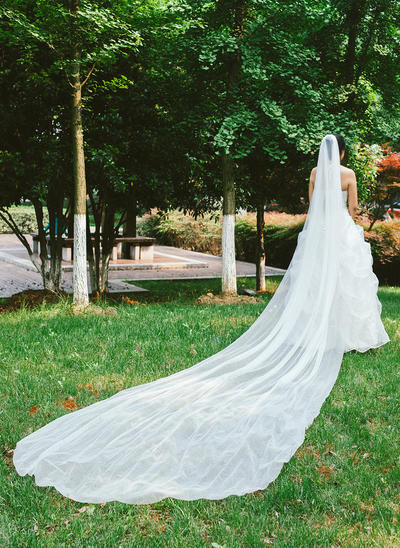 Cathedral Bridal Veils Tulle One-tier Classic/Drop Veil With Pencil Edge Wedding Veils (006151861)