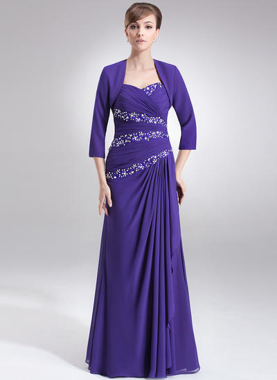 A-Line/Princess Sweetheart Chiffon Sleeveless Floor-Length Ruffle Beading Sequins Mother of the Bride Dresses (008211031)