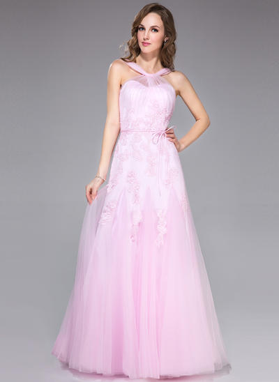 Tulle Sleeveless Trumpet/Mermaid Prom Dresses V-neck Ruffle Appliques Lace Bow(s) Floor-Length (018042415)
