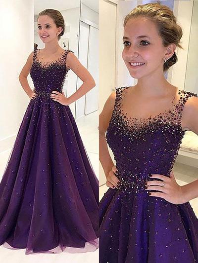 Sleeveless A-Line/Princess Prom Dresses Scoop Neck Beading Floor-Length (018210932)
