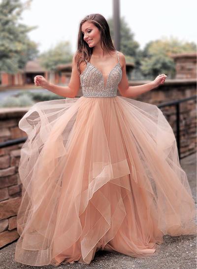 Tulle Sleeveless A-Line/Princess Prom Dresses V-neck Beading Sweep Train (018218635)