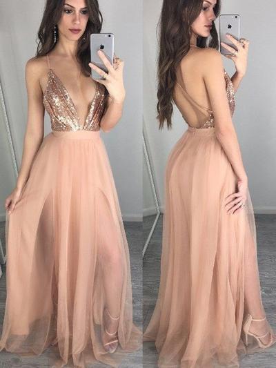 Tulle Sleeveless A-Line/Princess Prom Dresses V-neck Sequins Floor-Length (018145894)