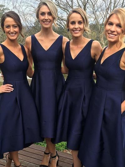 Satin Sleeveless A-Line/Princess Bridesmaid Dresses V-neck Ruffle Asymmetrical (007211577)