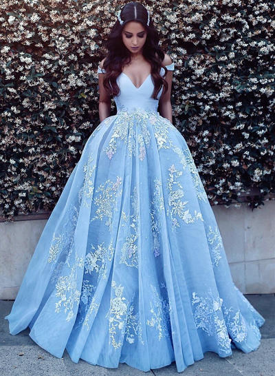 Tulle Sleeveless Ball-Gown Prom Dresses Off-the-Shoulder Appliques Sweep Train (018148398)