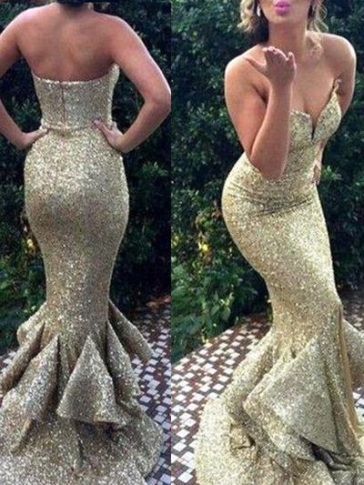 Sequined Sleeveless Trumpet/Mermaid Prom Dresses Sweetheart Sweep Train (018210229)