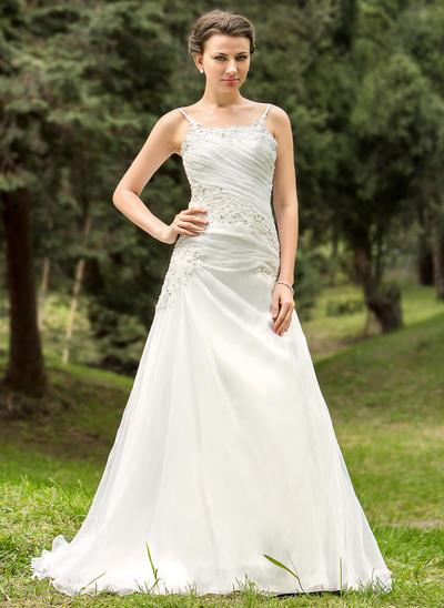 Sweetheart Court Train A-Line/Princess Wedding Dresses Strapless Organza Sleeveless (002211324)