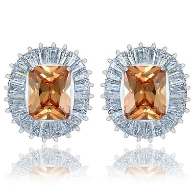 Earrings Zircon/Platinum Plated Pierced Ladies' Gorgeous Wedding & Party Jewelry (011166728)