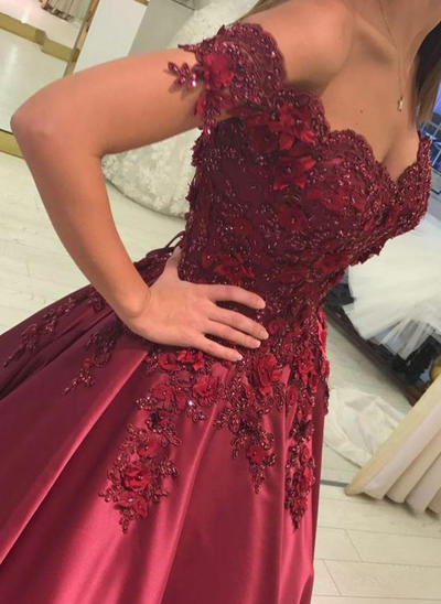 Ball-Gown Off-the-Shoulder Satin Sleeveless Floor-Length Beading Appliques Lace Evening Dresses (017216967)