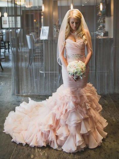 Flattering Chapel Train Trumpet/Mermaid Wedding Dresses Sweetheart Organza Sleeveless (002144941)