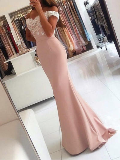 Trumpet/Mermaid Off-the-Shoulder Stretch Crepe Sleeveless Sweep Train Appliques Evening Dresses (017210120)