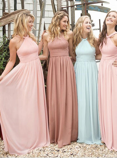 Chiffon Sleeveless A-Line/Princess Bridesmaid Dresses Scoop Neck Ruffle Floor-Length (007145086)