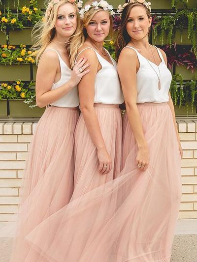 Chiffon Tulle Sleeveless A-Line/Princess Bridesmaid Dresses V-neck Floor-Length (007144965)