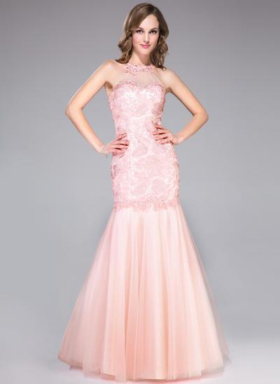 Tulle Lace Sleeveless Trumpet/Mermaid Prom Dresses Scoop Neck Ruffle Beading Floor-Length (018046197)
