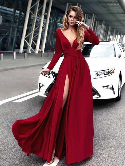 A-Line/Princess V-neck Chiffon Long Sleeves Floor-Length Ruffle Evening Dresses (017212101)
