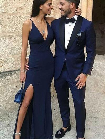 Jersey Sleeveless Sheath/Column Prom Dresses V-neck Split Front Floor-Length (018218343)
