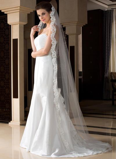 Chapel Bridal Veils Tulle One-tier Drop Veil With Lace Applique Edge Wedding Veils (006151517)