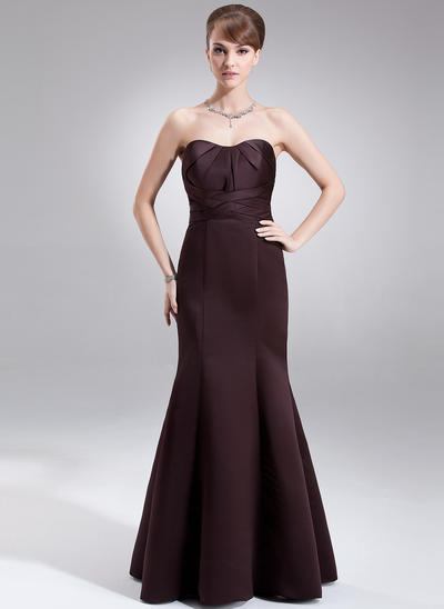 Satin Sleeveless Trumpet/Mermaid Bridesmaid Dresses Sweetheart Ruffle Floor-Length (007001866)