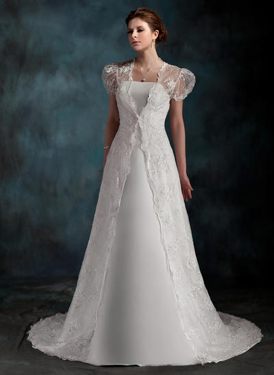 Luxurious Court Train A-Line/Princess Wedding Dresses Sweetheart Satin Sleeveless (002001254)