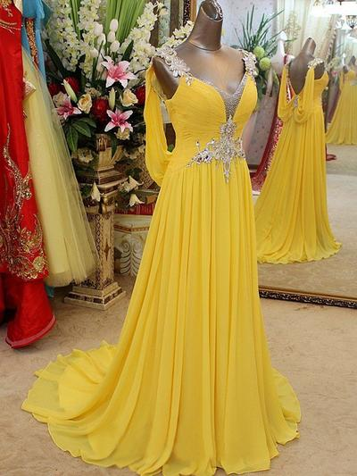 Chiffon Sleeveless A-Line/Princess Prom Dresses V-neck Beading Appliques Lace Sweep Train (018210374)