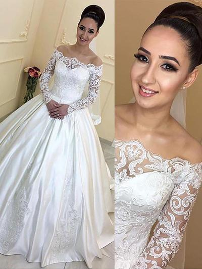Simple Court Train Ball-Gown Wedding Dresses Off-The-Shoulder Satin Long Sleeves (002210855)
