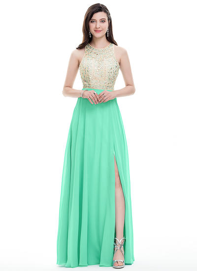 Sleeveless A-Line/Princess Prom Dresses Scoop Neck Beading Sequins Split Front Floor-Length (018107797)